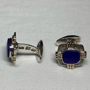 Sterling cufflinks with blue lapis stone and 14k